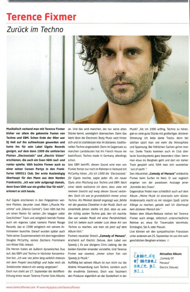 Raveline Feature (september issue) about the new forthcoming album for Electric Deluxe