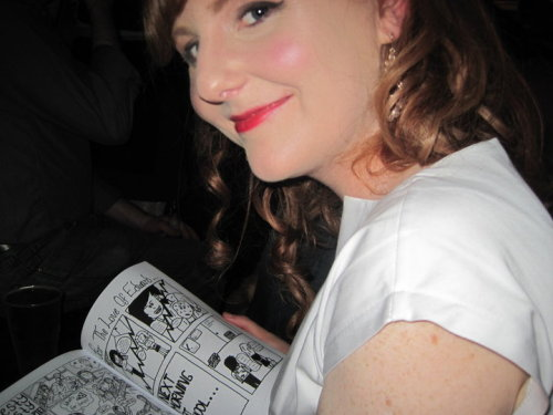 Glasgow artist Katie Pope reading the first issue of Team Girl Comic. What else are you supposed to do in night clubs?