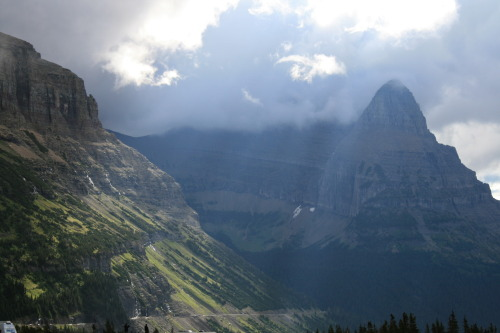 August 23rd- Went to Glacier National park in the morning and drove up to the Continental Divide at Logan's Pass where the clouds were moving so fast that when I would take a  picture of a mountain I would check the picture and when I looked back up the mountain would be gone; saw a bighorn ram in the parking lot before it ran off into the valley; drove through the entire state of Montana crossing through Wyoming and into South Dakota where we made it in time to see Mount Rushmore lit up at night.