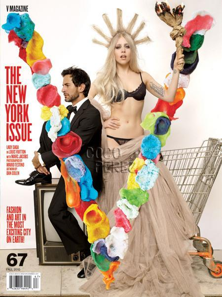 Lady Gaga and Marc Jacobs V Magazine's cover. Say hello to the new statue of liberty!