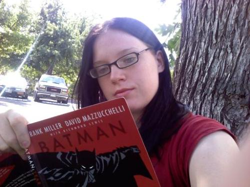 Kate: In the park with my copy of Batman: Year One.