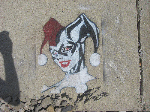 Daily Graffiti: Harley Quinn Stencil Graffiti Under A Bridge. Spotted by vegetablesandwiches. Check  out the Daily Graffiti Archives for more geektastic street art!