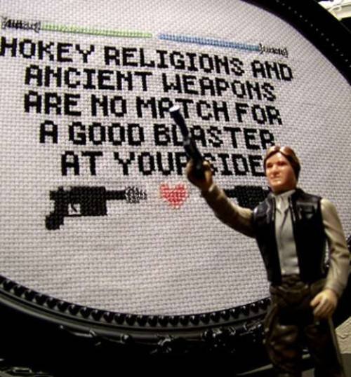 Han Solo just goes with cross stitch, don't you think?