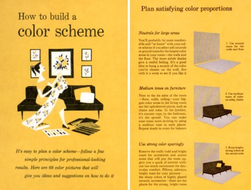 "[ DECORATING ADVICE FROM 1960 ]  I've been sifting through the vintage decorating books that we picked up a few weeks ago, and there are so many great pages, I'm a little overwhelmed in choosing what to share! These images are from the Better Homes & Gardens Decorating Book (1961). By making a few modifications, like updating the flower arrangements or changing out the throw pillows, any one of these could look like a picture taken today.     If you're curious, here is what the book says (in the top photo) about using color: Neutrals for large areas - You'll probably be more comfortable and ""at home"" with your color scheme if you select soft neutrals or grayed tones for the largest color areas in your room—the walls and the floor. The more subtle shades give a restful feeling. It's a good idea to hang a swatch of the color you've chosen on the wall, live with it a week to see if you like it. Medium tones on furniture - Next to the six sides of the room—floor, walls, ceiling—your biggest color areas in the living room are the upholstered pieces, such as chairs and sofas. In the kitchen, it's counter tops, in the bedroom, it's the spread. You can make your room more inviting by using a medium tone in such places. Repeat shade in room for balance. Use strong color sparingly - Reserve the really bold and bright tones for accessories and accent notes that will pep the room up, give you a spark of interest without too much excitement for day-to-day comfort. Pillows, ashtrays, bright mats for your pictures… the sharp colors of highly glazed cera,ic accessories—these are the places for the strong, bright tones."