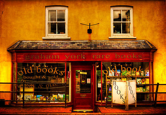 "booklife:  breathingbooks:  heartbeatoz:  ""Bookshop"" Fine Art Print by ajgosling [5631957-1] - RedBubble"