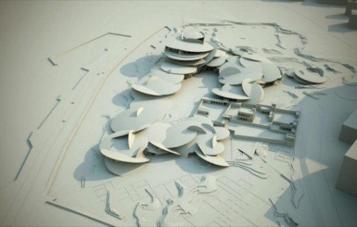 """Jean Nouvel's design for the new National Museum of Qatar utilizes technology to create a thoroughly new institution. Conceived as growing out of  the ground, the building uses rings of low-lying, interlocking  pavilions, to encircle a large courtyard area and encompass 430,000  square feet of indoor space. Tilting,interpenetratingdisks define the  pavilions' floors, walls and roofs, and the exterior in a sand-colored  concrete. Nouvel likens it to a """"bladelike petal of the desert rose, a  mineral formation of crystallized sand found in the briny layer just  beneath the desert's surface."""" Hat tip: Arch Daily"""