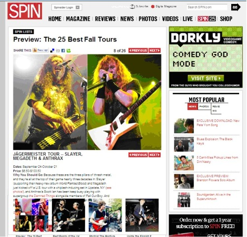Check out Slayer featured in SPIN magazine as one of the 25 best fall tours! Read the entire article here!