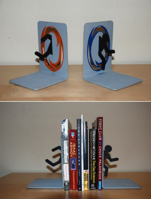 thedailywhat:   Badass Bookends of the Day: These sweet Portal-themed bookends are custom-made and not available for purchase. Fairness is a lie. [nerdapproved.]