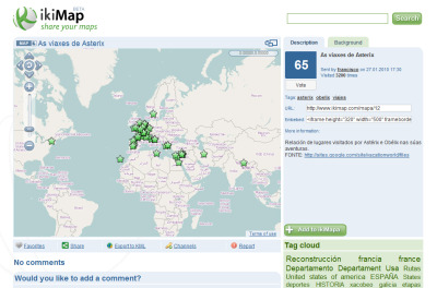 ikiMap - a web service to create and share maps with voting, commenting, and other social networking functions. above - the places visited by Asterix and Obelix during their adventures