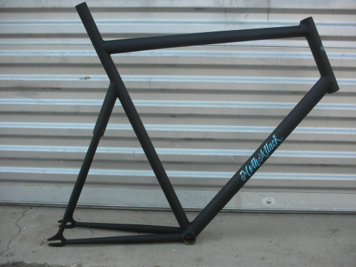 A little preview of Moth Attack's new frame made for Jack Lindquist — who is now apparently too fast for his BMC Track Machine.  He'll be riding this one at Elite Nats in a few weeks.  Fillet-brazed.  Matte black rattlecan paint.  Custom decals to match Jack's Ritte Racing kit.  Nice work!  I'll try to acquire some photos when it's completely built up.  See a couple more pics at Megan's Flickr.