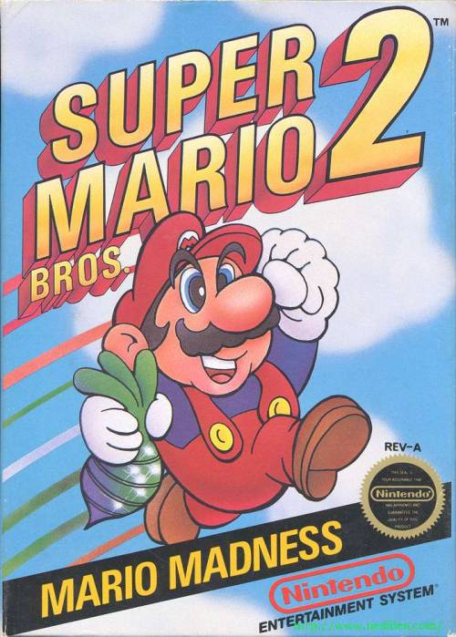 Super Mario Bros. 2 - released in 1988 Known in Japan as a completely different game, Nintendo of America changed Doki Doki Panic into a Mario game, marking it Mario's second adventure in America. Though many hail Super Mario Bros. 3 as the best Mario game in this era, Super Mario Bros. 2 will still be my favorite. For one, you have the option of playing as four different characters, each with their own special ability. Mario is well-rounded, gifted in running and jumping, Luigi can jump the highest, Toad is the fastest, but cannot jump very high. And of course, Peach can float. Secondly, it marked the first appearance for many Mario enemies, like Shy Guys, Snifits, as well as Birdo. The game offers moderate difficulty, but some claim it doesn't feel like a Mario game. What do you think?