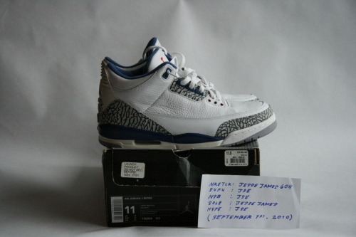 "AIR JORDAN 3 RETRO (2001): ""TRUE BLUE"" (WHITE / TRUE BLUE) SIZE: 11 / CONDITION: DEADSTOCK  NOTES: ORIGINAL RETRO CARD INCLUDED PRICE: $370 (OR BEST OFFER (ALL OFFERS WELCOME)) MORE PHOTOS: CLICK HERE"