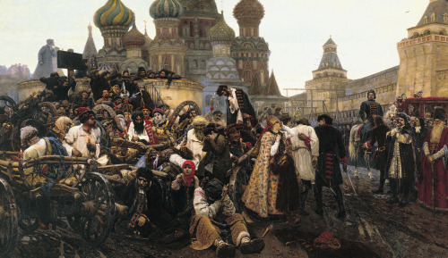 nostalgiya:  Morning of Streltsy's execution, Vasily Surikov, 1881, oil on canvas.