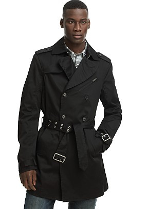 """Jeret"" double breasted trench coat in Black, Diesel, Bloomingdale's, $290"