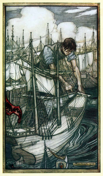 oldbookillustrations:  Gulliver Seizes the Enemy's Fleet Arthur Rackham, from Gulliver's Travels into Several Remote Nations of the World, by Jonathan  Swift, London, 1899. Via archive.org.