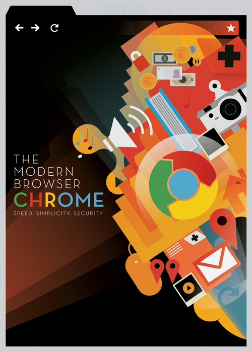 Lovely Art Deco-esque poster by Mike Lemanski, commissioned by Google in celebration of Chrome turning two years old and the release of version 6 (which came out the other day). Click through to see it in extra large.