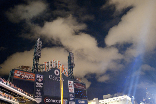terrysdiary:  Comerica Park at night… home of The Tigers now.  I think I'd like to meet Terry Richardson. Also, auto-reblog because DEEEEEE-TROIT! [p.s. Please don't think you're doing me a favour by telling me what a horrible man Richardson is. Clayton disagrees, and for some crazy reason I trust Clayton more than you.]