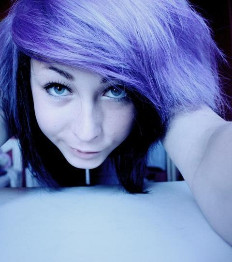 purple haired scene kid