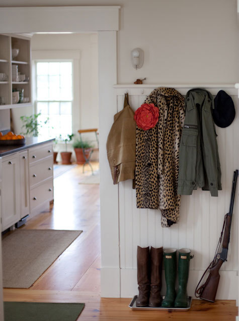 I like this makeshift mudroom. In my future I see a reason to have a mudroom.