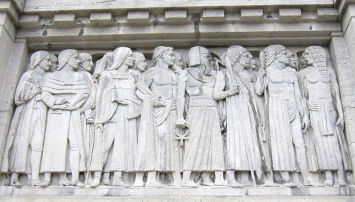 March of Humanity from the East… over time. This relief represents the Eastern Hemisphere over the old entrance to Royal Ontario Museum on Queen's Park.