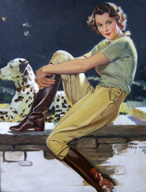 Equestrian Beauty… This cover art is from a 1936 issue of the Canadian Home Journal by artist Rex Woods. Also the artwork is part of a collection of early Canadiana at the ROM.