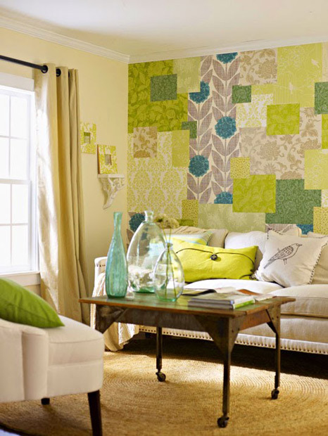 gluestickgirl:  Paper a Wall with Wallpaper Scraps | Apartment Therapy New York