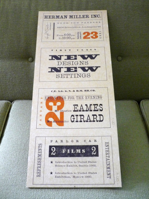 Eames/Girard Invitation Los Angeles, California - January 23rd 1963 (scanned, enlarged, printed & mounted)