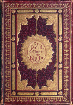 mirroir:  Front cover of The poetical works of Edgar Allan Poe, New York, 1858. Via archive.org.