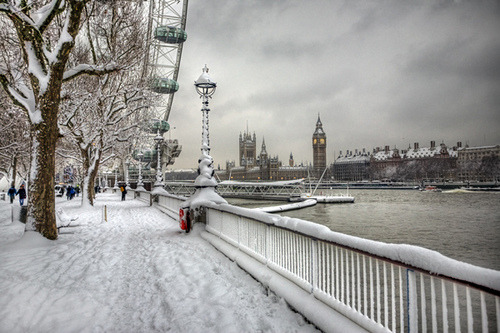 Snowy London via
