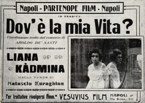 Italian silent film publicity - Dov'è la mia vita? / Where is My Life?, Guglielmo Braconcini, 1920. With actress Liana Kàdmina. (via lastdreamofjesus)