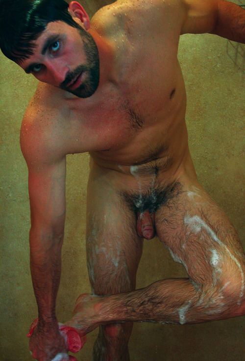 Hairy dad, in the shower.