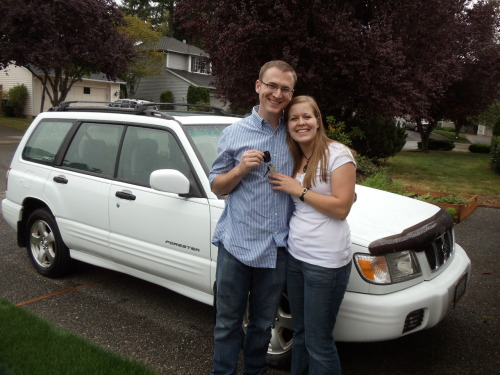 Kelly and Brian got a new car this weekend!  A 2001 Subaru Forester—great for the snow! They are so excited!