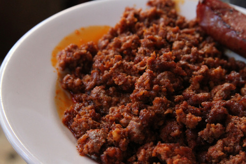 thehungrydudes:  365 Days of Food #249 Chorizo (by JoeFoodie) A spicy alternative to breakfast sausage.  Chorizo is also great on nachos & in tacos.