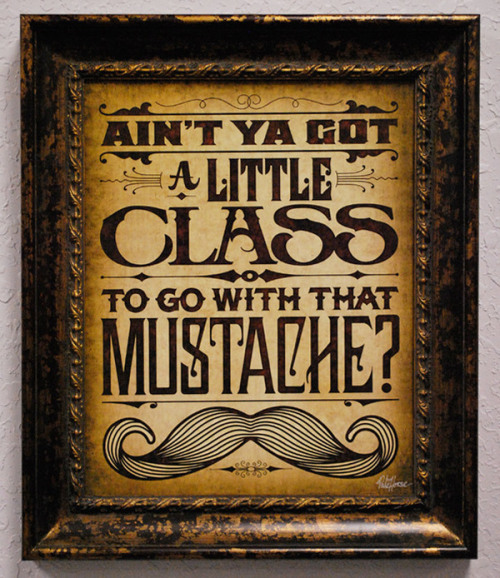 Ain't ya got a little class to go with that moustache?
