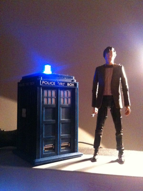 Number 11 action figure next to my USB TARDIS hub.  Good thing it's bigger on the inside.