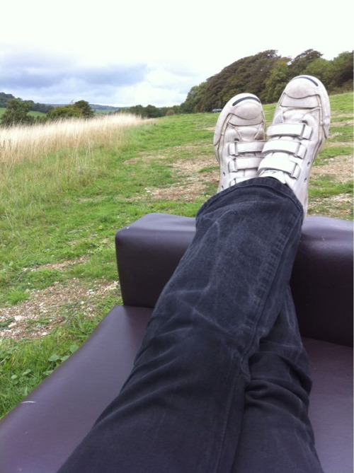 I'M ON A SOFA.  No, wait.  I'M IN A FIELD.  Hang on.  I'M DOING BOTH AT THE SAME TIME.  My lunchtime walks are confusing sometimes. But comfy.