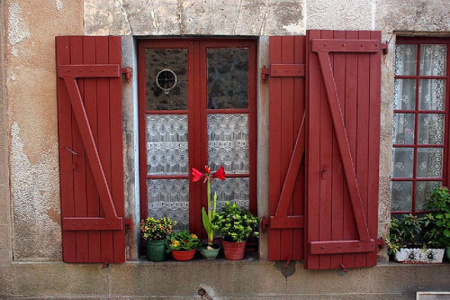 girlyme:  Red Shutters, Rochechouart, Limousin, France (by Graham Currey)