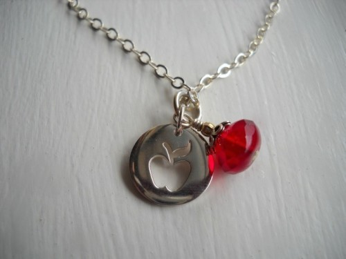 Honeycrisp A Charm Necklace in Sterling Silver by SparklePeach