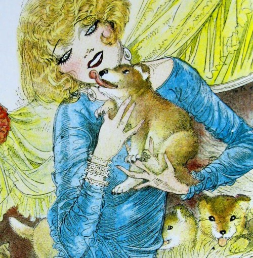 "mothgirlwings:  A flapper and her baby dogs Artist:  Nell Brinkley  (Via ""The Brinkley Girls:  The Best Of Nell Brinkley's Cartoons 1913 - 1940"")"