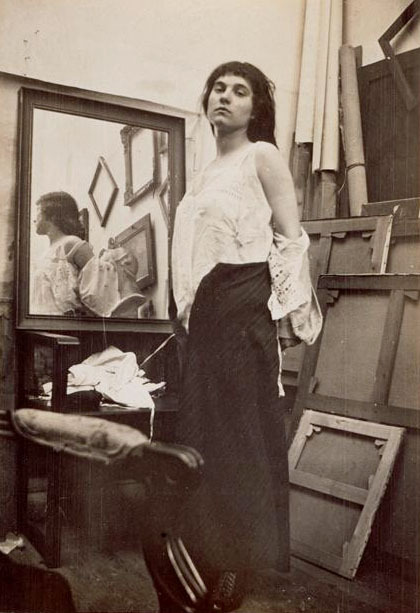 Modèle retirant sa blouse dans l'atelier parisien de Bonnard, ca 1916 -by Pierre Bonnard[Model getting ready for pose]