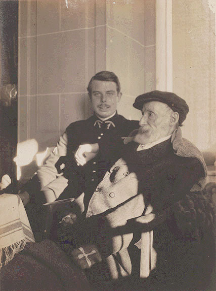 "Pierre Bonnard - Auguste et Jean Renoir (ca 1916) [some say ""attributed"" to P. Bonnard, other confirm the autorship]  Jean, son of Auguste Renoir, is shown here in army uniform for the war (1914-18); he will make his anti-war famous movie, La grande Illusion, in 1937.This photo also shows how handicapped Auguste Renoir was in his last years; he will paint until his death (in 1919), his paintbrushes tied to his hand."