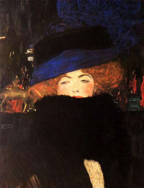 "anneyhall:  Gustav Klimt: ""Lady with Hat and Feather Boa,"" 1909."