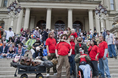 A few more Zombie Walk photos we can't resist. The undead backstory.[Submitted by Loan Nguyen.]