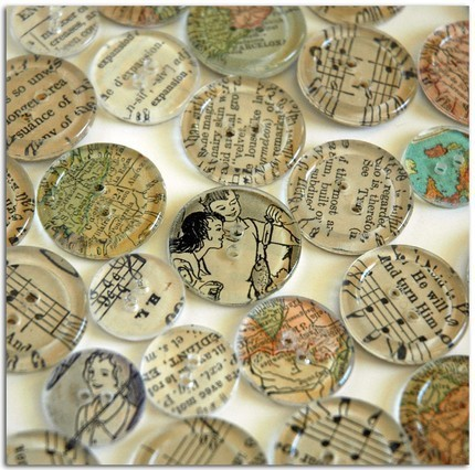 createcreatively:  Clear buttons with vintage paper glued to the back.  Great idea for journaling.