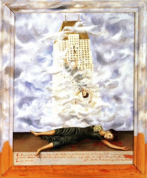 The Suicide of Dorothy Hale (1939) by Frida Kahlo Dorothy Hale had been the wife of Gardiner Hale, a well-to-do American  portrait painter who had died in a crash during the 1930s. Without her  husband to support her, Dorothy Hale ran into financial difficulties  that she was unable to solve. On the morning of October 21, 1938, she  committed suicide by throwing herself out the window of her suite in the  Hampshire House building. (via kraftgenie)
