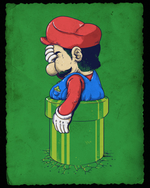 The mass consumption of Mushroom Kingdom pizza has caught up with old Mario. Vote this wedged paisano up at Threadless! Related Rampages: Wrong Cube | Don't  Care Bears | Master  Vader Game Over by  Alex   Solis / alexmdc (Flickr)   (Twitter)   (Facebook)  Via: gamefreaksnz | pacalin