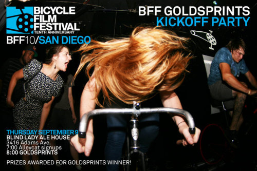 Tonight in San Diego!  Kicking off Bicycle Film Festival with the first race of a three-part alleycat series.  Goldsprints party will follow.