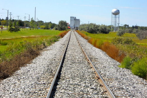 The Vanishing Point  The tracks cut through the prairie land.  Once you pass the town and  follow it, the vastness can be overwhelming.