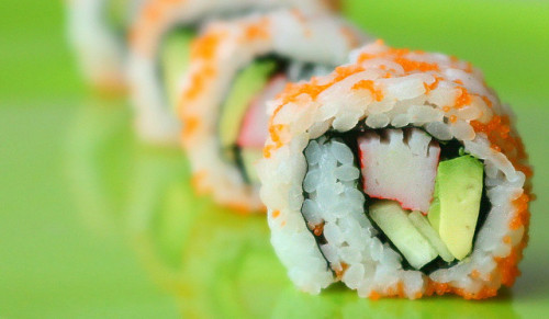 ohmyasian:  (by Tara) 797. California Rolls. Yummehhh. Scared of raw fish and such- these are always a delicious backup. And even if youre a pro sushi eater, these are always good. (Btw, where these things actually made in Cali?)