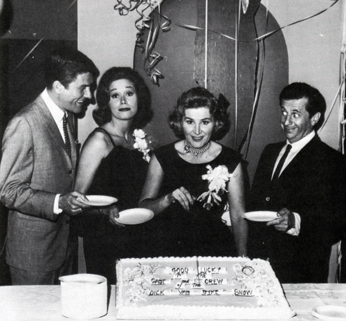 dickvandykeshow:  Dick Van Dyke, Mary Tyler Moore, Rose Marie and Morey Amsterdam at the The Dick Van Dyke Show season 1 wrap party.  They look fantastic!!!